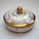 Шкатулка круглая с перламутром